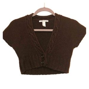 Tops - Brown knit short sleeve crop top